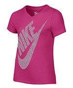 koszulka sportowa dziewczęca NIKE SHORT SLEEVE VNECK T-SHIRT / 822509-616