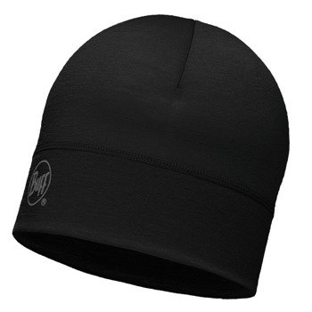 czapka do biegania BUFF MERINO WOOL 1 LAYER HAT BUFF SOLID BLACK / 113013.999.10
