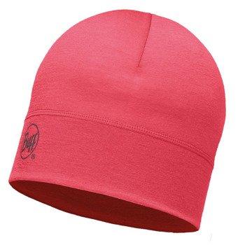 czapka do biegania BUFF MERINO WOOL 1 LAYER HAT BUFF SOLID PINK HIBISCUS / 113013.408.10