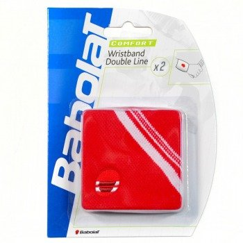 frotki tenisowe BABOLAT WRISTBAND DOUBLE LINE x2 red