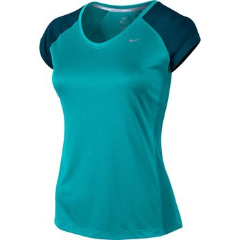 koszulka do biegania damska NIKE MILER SHORTSLEEVE V-NECK TOP / 519831-383